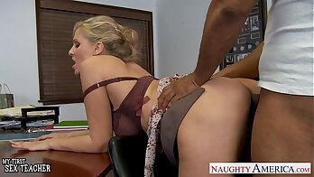Blonde riding on teachers BBC with blue sheets