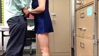 Busty gal secretary Aunty Phoenix gives good firm handjob but makes me so horny