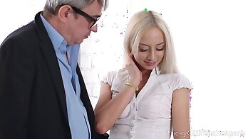 Real blonde girl pussy cleaned by teacher