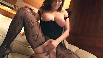 Busty babe with super sexy smile eating pussy