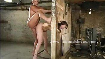 Busty blonde BDSM slave with choke massomps