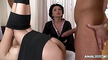 Japanese threesome anal CumAttack