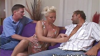 Brunette works out with a real man and a cock