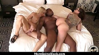 Amateur housewife fingers a big black cock