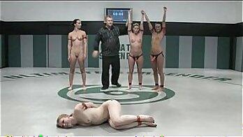 Blackhaired naked wrestling for bet