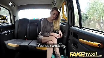 Blonde girl willing to pay for pussy sex in fake taxi