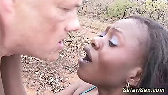 Black girl analized outdoors