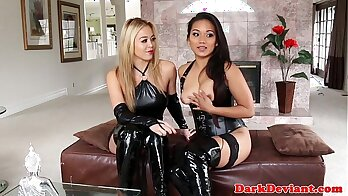 Asian flashes her lesbian snatch and videos femdom doves