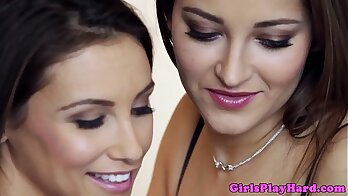 Adorable lesbian babes in lingerie suck and eat pussy