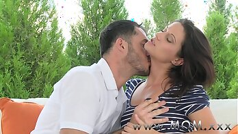 Chubby brunette mommy rides on her bf cock like a pro