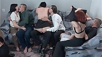 Barely legal chicks enjoy steamy group sex action with horny guy