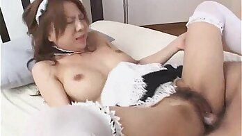 Beautiful Japanese Babe Rides Dick and Doggystyled