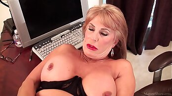 Watch the hot blonde mature slut will do anything for the job